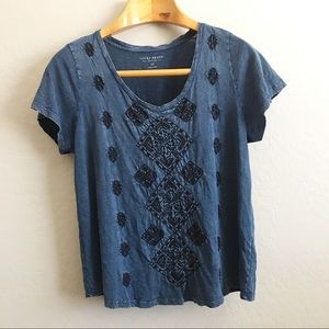 Lucky brand embroidered wash top size 1X